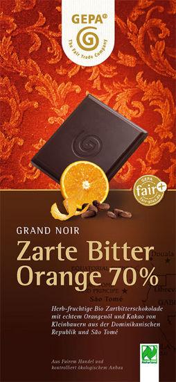 Bild von Zartbitterschokolade Orange 70% Bio