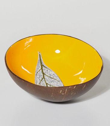 Bild von Kokosschale Lack Blatt gelb